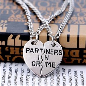 Jewelry - Partners in Crime heart necklace set